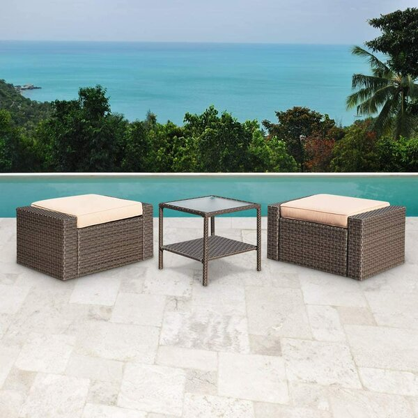 Fansler 3 Piece Rattan Seating Group with Cushions by Latitude Run