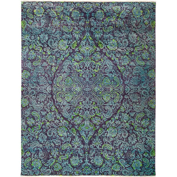 One-of-a-Kind Heilman Hand Knotted Wool Purple Area Rug by Bloomsbury Market