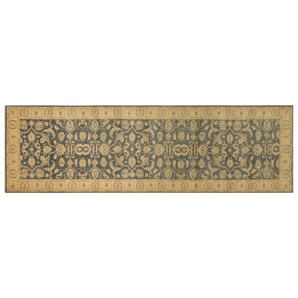 Longoria Fine Chobi Hand-Knotted Wool Blue/Beige Area Rug by Canora Grey