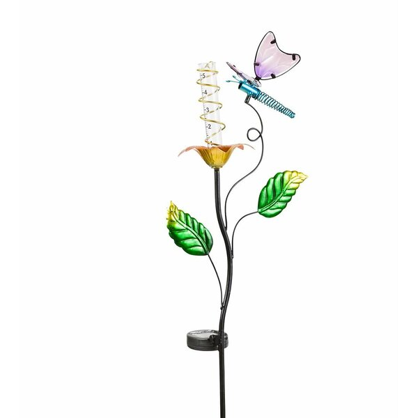 Solar Rain Gauge Garden Stake by Wind & Weather
