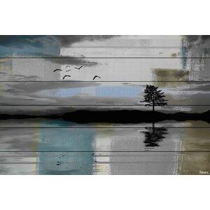 'Tree Reflection' by Parvez Taj Painting Print on White Wood by Parvez Taj