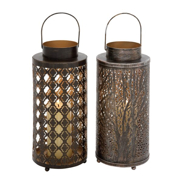 Durable Candle Metal Lantern Set (Set of 2) by World Menagerie