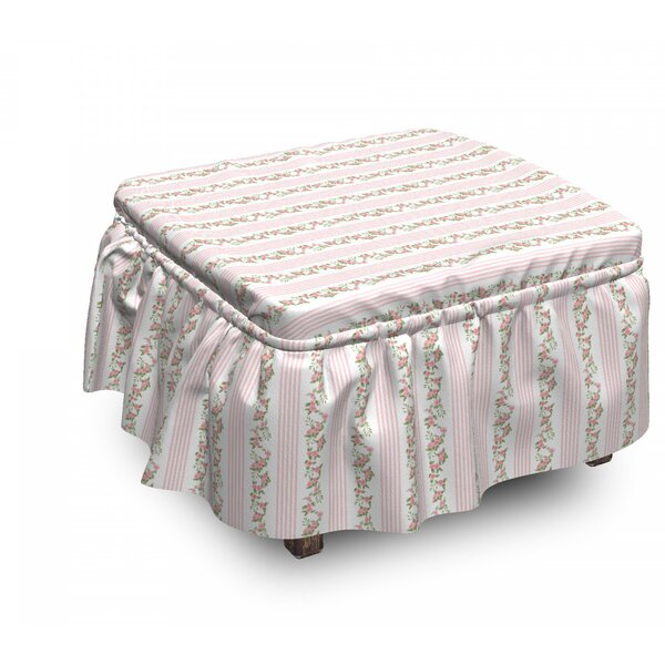 Flora And Stripes Ottoman Slipcover (Set Of 2) By East Urban Home