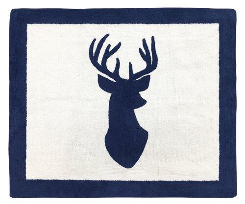 Woodland Deer Hand-Tufted Navy/White Area Rug by Sweet Jojo Designs