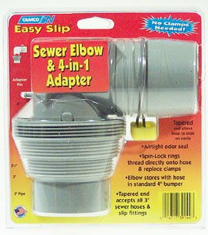 Easy Slip Sewer Elbow and 4-in-1 Adapter by Camco