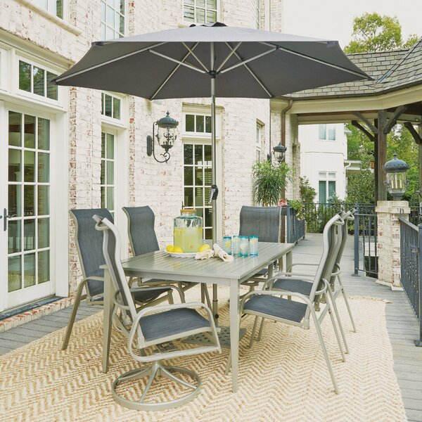 Dinan Outdoor 7 Piece Dining Set with Umbrella by Red Barrel Studio