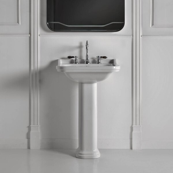 Waldorf Ceramic 24 Pedestal Bathroom Sink with Overflow by WS Bath Collections