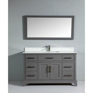 Phoenix Stone 60″ Single Bathroom Vanity with Mirror