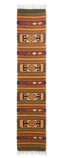 Geometric Hand-Woven Brown/Orange Area Rug by Novica