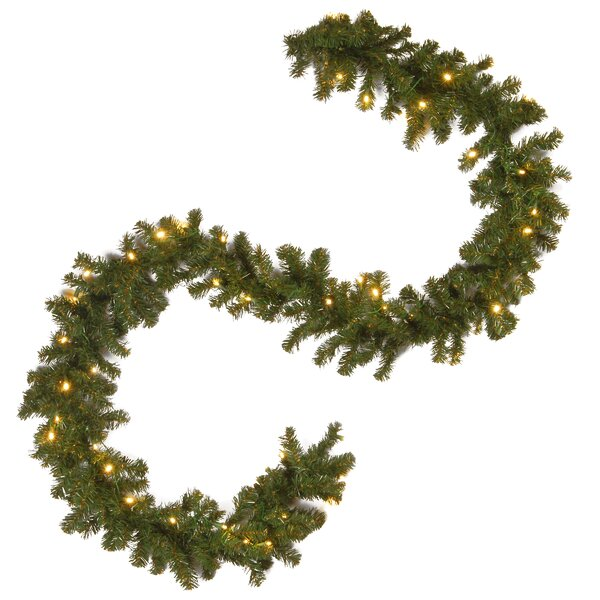 Spruce Pre-Lit Garland with 50 Clear Lights by Three Posts