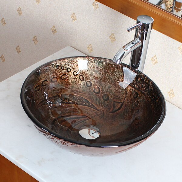 Hot Melted Rock Pattern Glass Circular Vessel Bathroom Sink by Elite