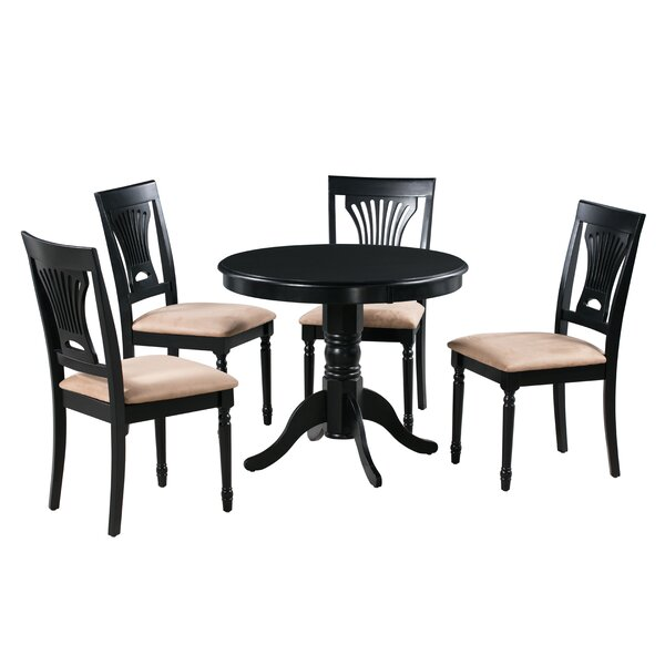 Dahlke 5 Piece Solid Wood Dining Set by August Grove