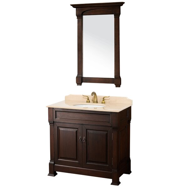 Andover 36 Single Dark Cherry Bathroom Vanity Set with Mirror by Wyndham Collection