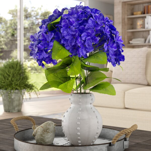 7 Stems Artificial Full Blooming Stain Hydrangea by August Grove
