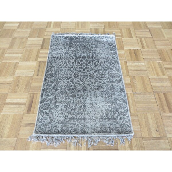 One-of-a-Kind Paden Hand-Knotted Rayon from Bamboo Silk Gray Area Rug by Bloomsbury Market