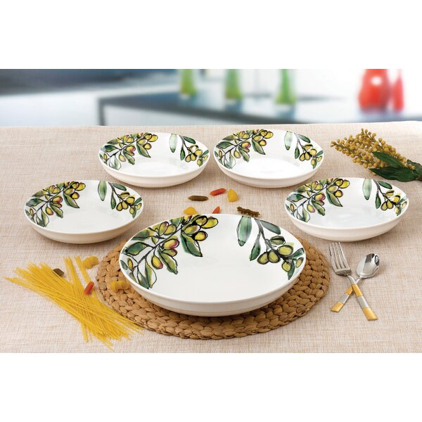 5 Piece Olive Design Porcelain Pasta Bowl Set by L