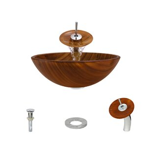 Find a Wood Grain Glass Circular Vessel Bathroom Sink with Faucet ByMR Direct