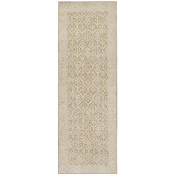 Farahan Hand-Knotted Wool Tan Area Rug