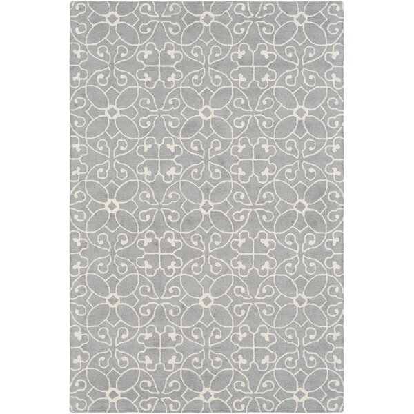 Arison Hand Hooked Wool Medium Gray/Cream Area Rug by Charlton Home