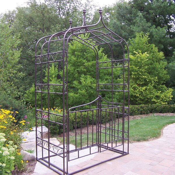 Gothic Iron Arbor with Gate by Oakland Living