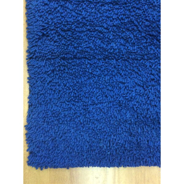 Shag Eyeball Woolen Royal Hand Knotted Blue Area Rug by Eastern Weavers