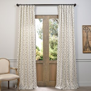 Amandier Geometric Room Darkening Rod Pocket Single Curtain Panel