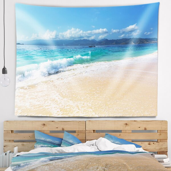 Seashore Large Blue Beach in Gili Island Tapestry by East Urban Home