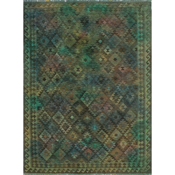 Earle Hand-Knotted Wool Dark Green Area Rug by Bloomsbury Market
