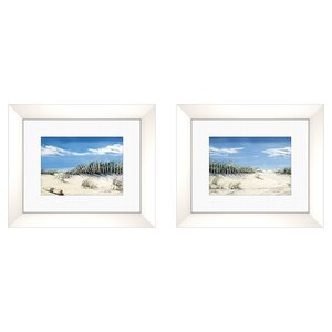 'Coastal Beach with a View' Framed Painting Print (Set of 2) by Highland Dunes