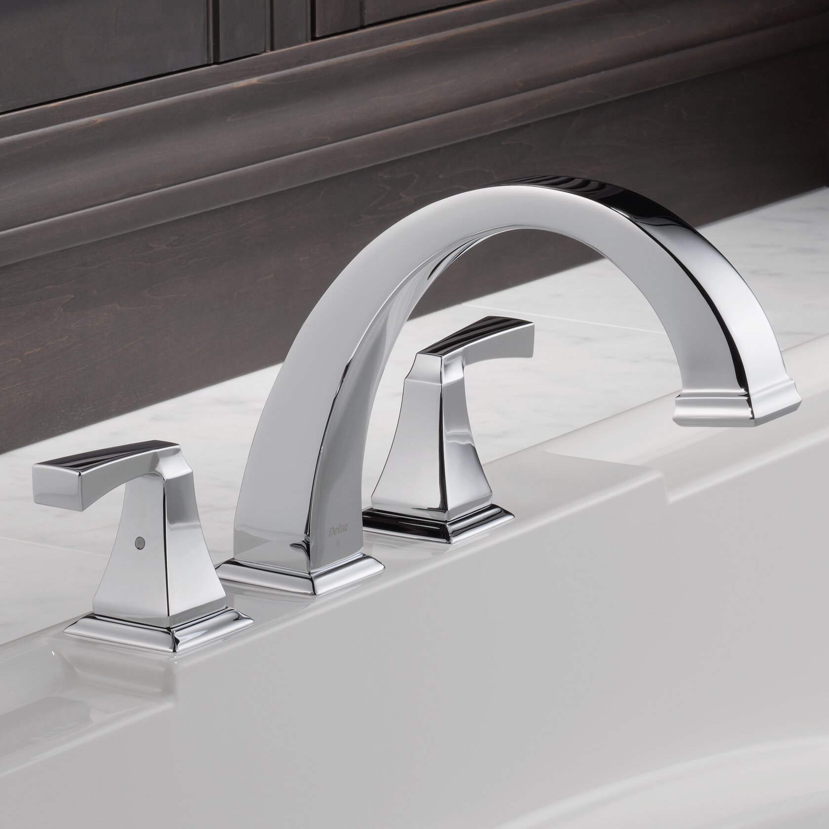 Delta Dryden Double Handle Deck Mount Roman Tub Faucet Trim ...