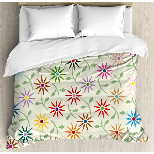 Abstract Colorful Graphic Flowers with Leaves Repeating Pattern Botanic Garden Art Duvet Set by East Urban Home