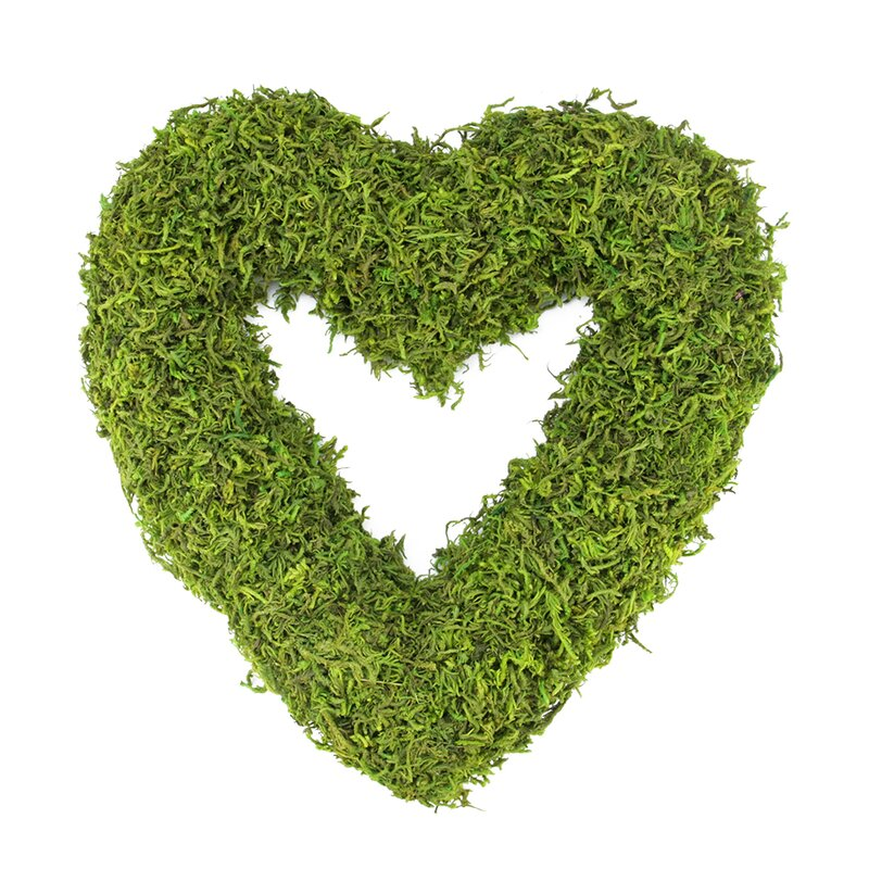 Reindeer Moss Heart-Shaped Artificial Spring Floral Wreath