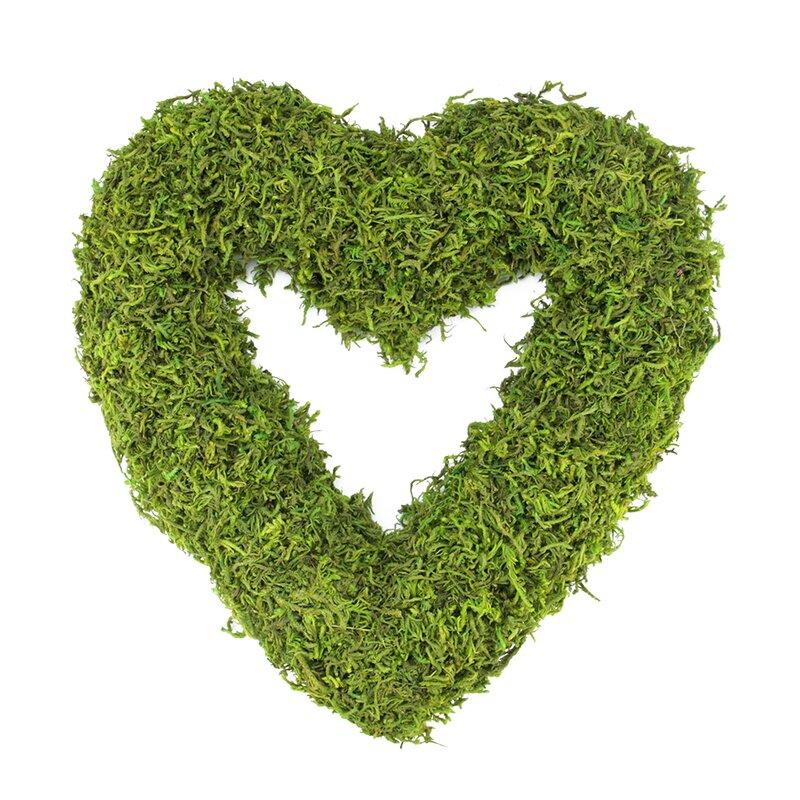 Reindeer Moss Heart-Shaped Artificial Spring Floral Wreath