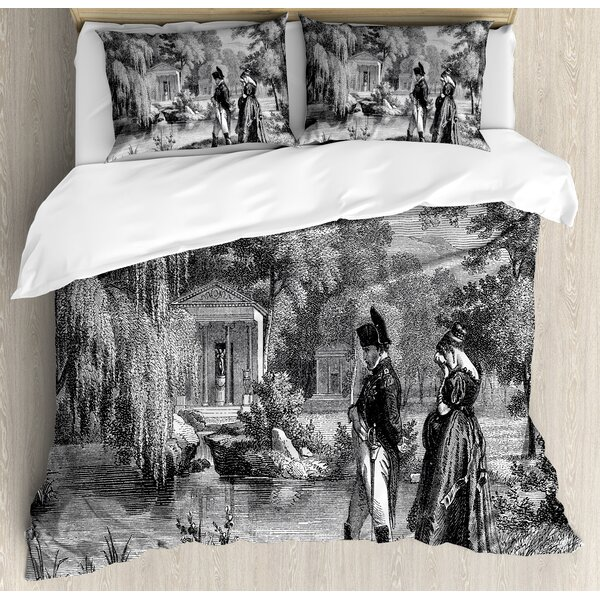 Vintage Historical French Revolution Sketch with Napoleon and Woman in Garden Artwork Duvet Set by Ambesonne