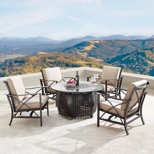 Mccomas 5 Piece Dining Set with Cushions and Firepit