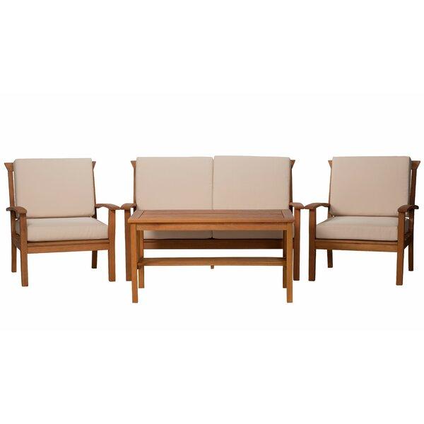 Buiron Eucalyptus 4 Piece Sofa Set with Cushions by Highland Dunes