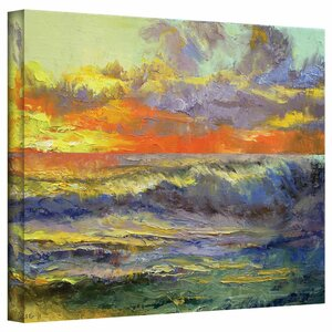 'California Dreaming Painting' Print on Wrapped Canvas in Orange and Blue by Ebern Designs