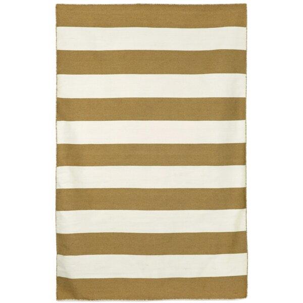 Ranier Stripe Hand-Woven Khaki Indoor/Outdoor Area Rug by Beachcrest Home