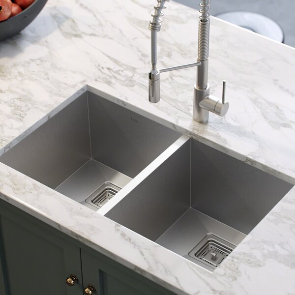 Pax™ 31.5 x 18.5 Double Basin Undermount Kitchen Sink by Kraus