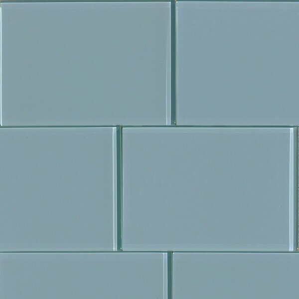 Shiny 4.75 x 7 Glass Field Tile in Blue by The Bella Collection