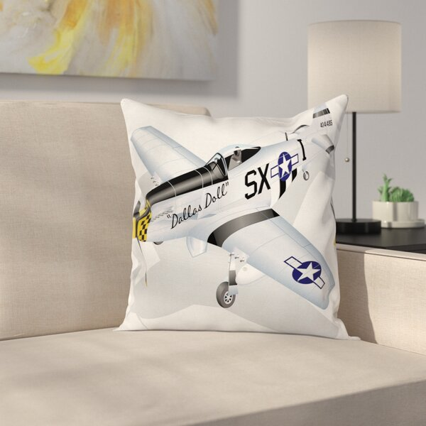 Vintage Airplane Mustang Dallas Square Pillow Cover by East Urban Home