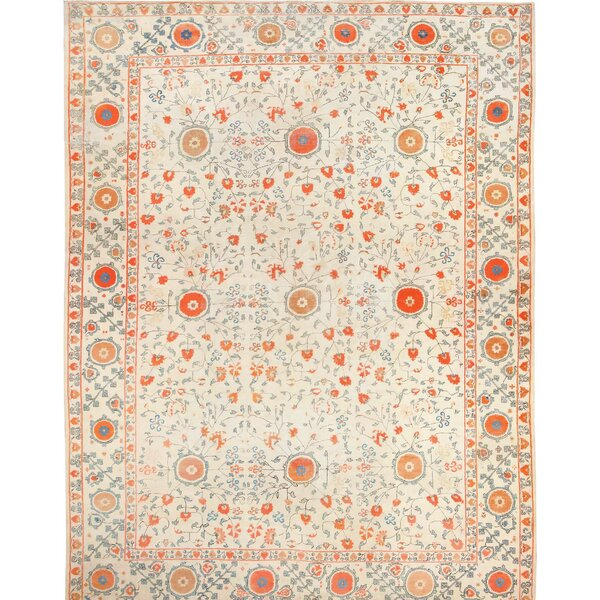 One-of-a-Kind Hand-Knotted 1910s Khotan Ivory/Red/Blue 14' x 20' Wool Area Rug
