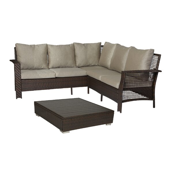 Ellie 2 Piece Rattan Sectional Seating Group with Cushions by Ivy Bronx