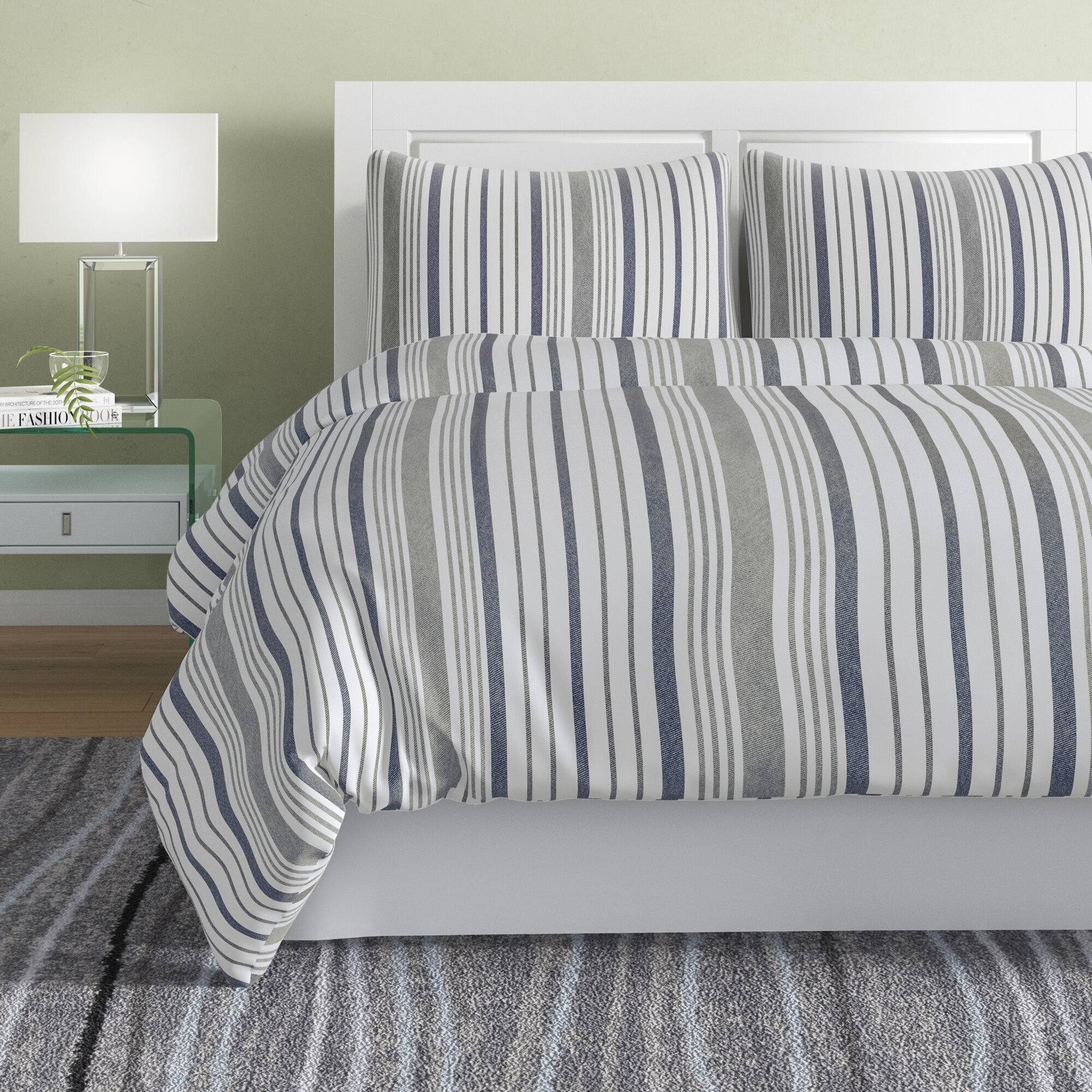 Waffle Stripe Slate Jacquard Quilt Cover Set Single Double Queen King SUPER King
