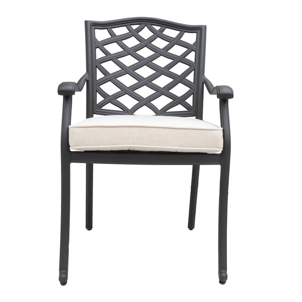 Wadena Patio Dining Chair with Cushion (Set of 2) by Fleur De Lis Living