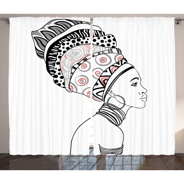 Wijchen Afro Graphic Print and Text Semi-Sheer Rod Pocket Curtain Panels (Set of 2) by World Menagerie