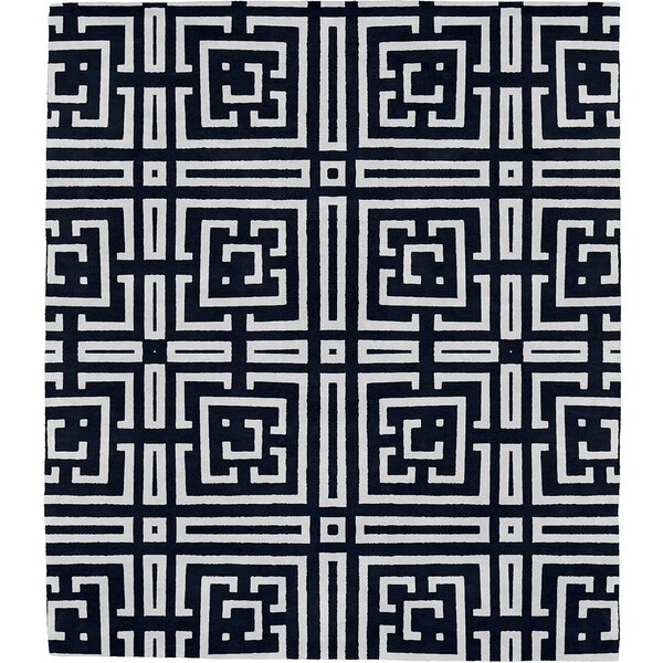 Lucan Patterned K Signature Hand-Tufted Wool Black Area Rug