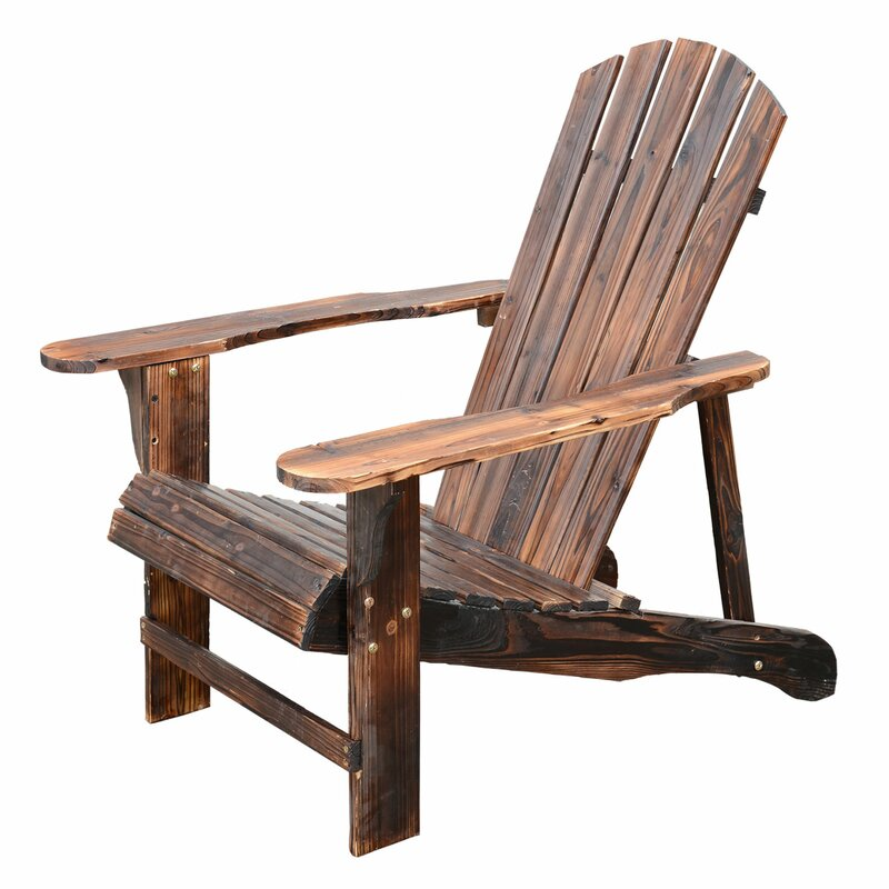 Superbe Wood Adirondack Chair With Ottoman