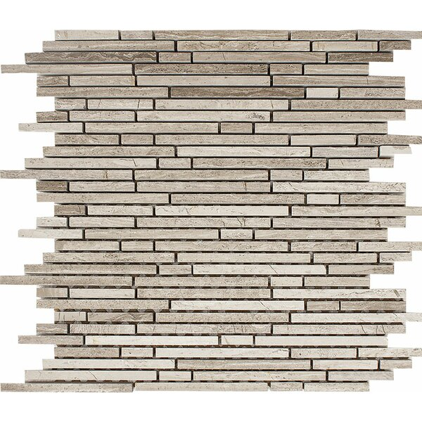 Wood Grain Random Strips Random Sized Stone Mosaic Tile in Polished Gray by Parvatile