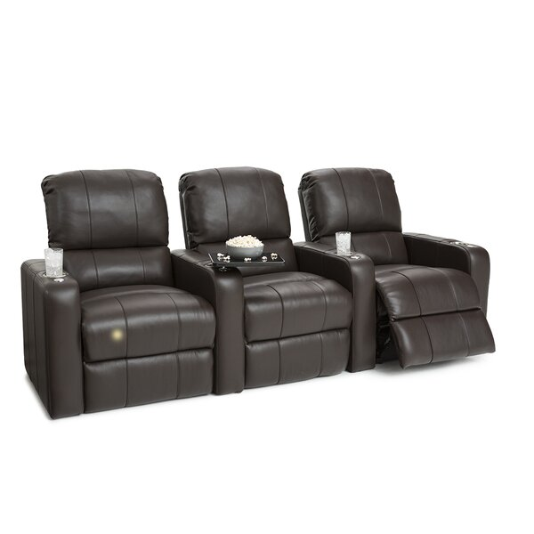 Leather Home Theater Row Seating (Row Of 3) By Latitude Run